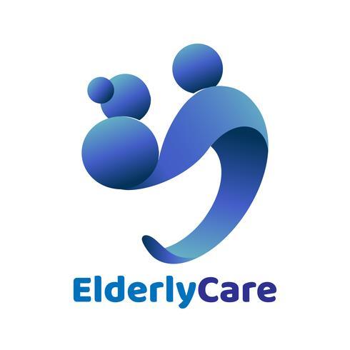 Logo en forme de coeur de soins de santé aux personnes âgées. Signe de la maison de retraite. vecteur