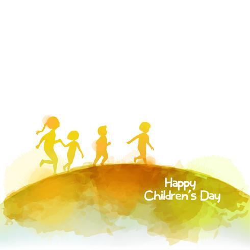 Aquarelle d'enfants heureux courir ensemble. Bonne fête des enfants. vecteur
