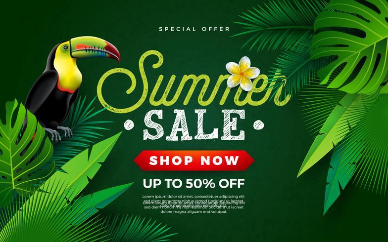 Conception de vente d'été avec fleur, oiseau Toucan et feuilles de palmier tropical sur fond vert. Illustration de vacances vecteur avec lettre de typographie offre spéciale