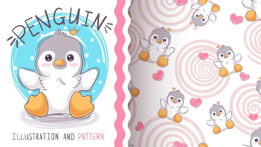 Pingouin princesse mignon - maquette pour votre idée vecteur