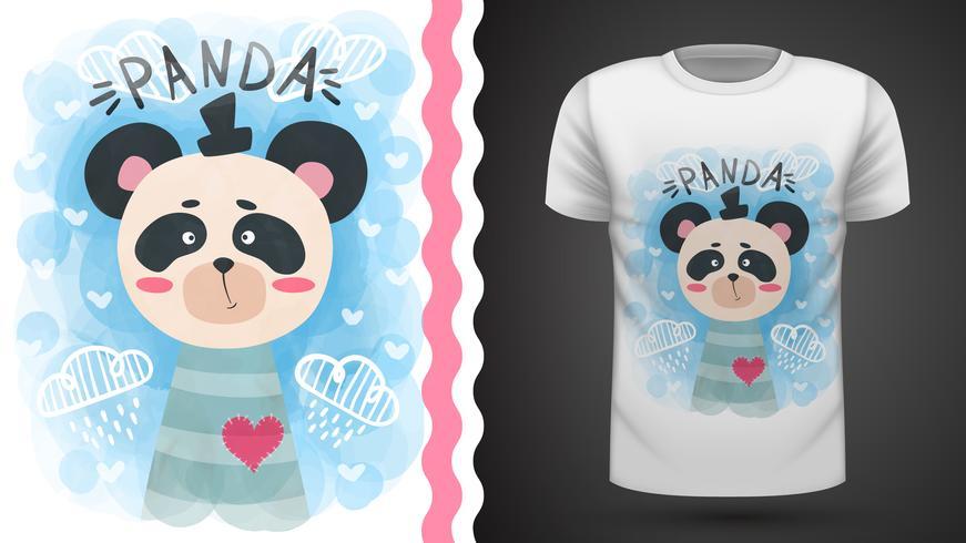 Panda aquarelle mignon - idée de t-shirt imprimé vecteur
