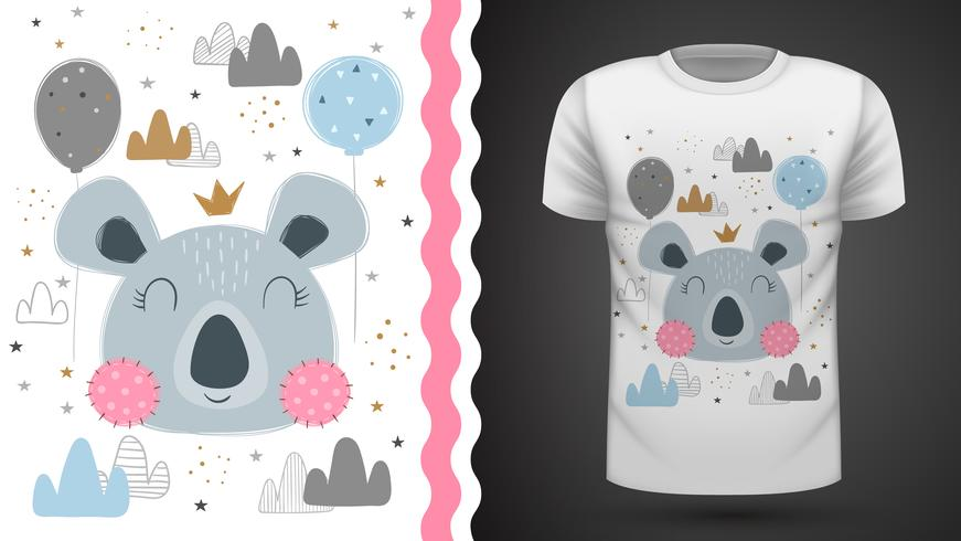 Coala mignon - pour t-shirt imprimé vecteur