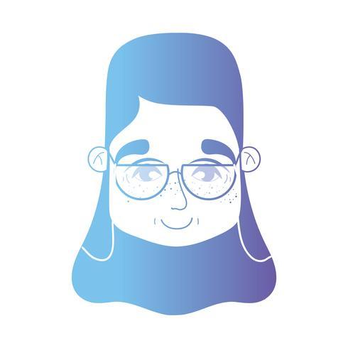 ligne femme tête avec coiffure et lunettes vecteur
