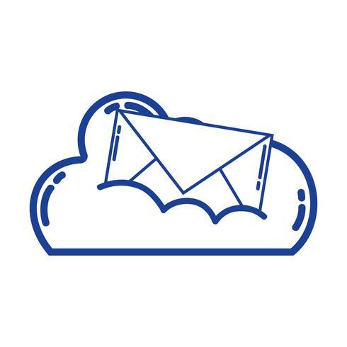 données de silhouette en nuage avec message de carte de courrier électronique vecteur