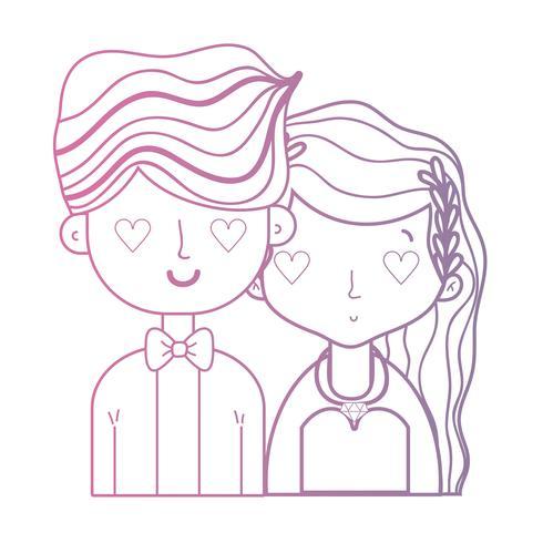 ligne beauté couple marié avec une coiffure vecteur
