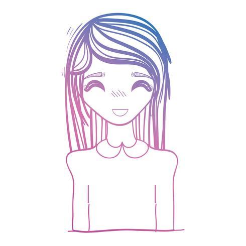 ligne beauté anime fille avec coiffure et chemisier vecteur