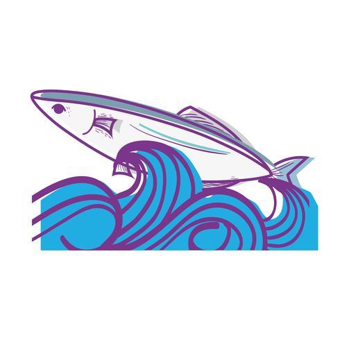 poisson animal dans la mer avec des vagues design vecteur