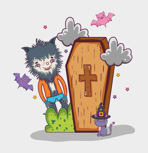 Halloween et dessins animés pour enfants vecteur