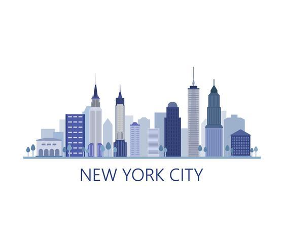 Horizon de New york sur fond blanc vecteur