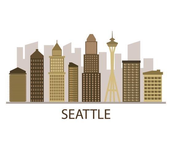 Skyline de Seattle sur fond blanc vecteur