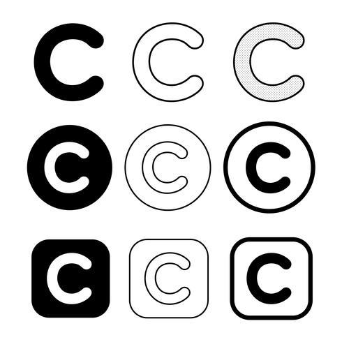 Symbole de symbole d'icône de copyright vecteur