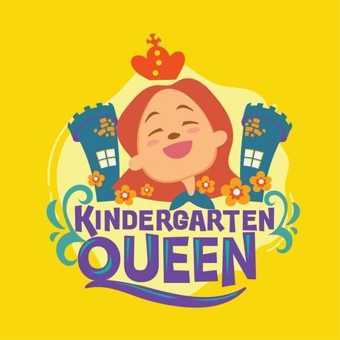Kindergarten Queen Phrase Illustration. Citation de retour à l'école vecteur