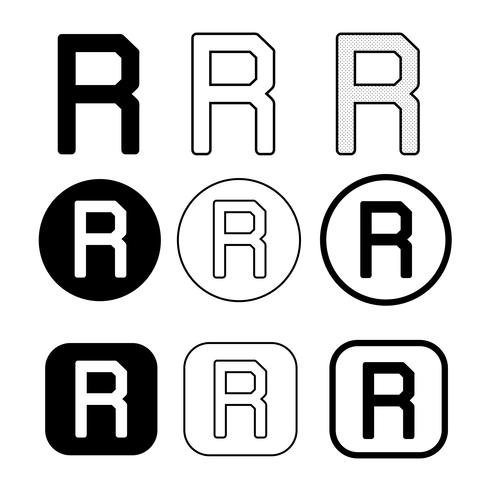Signe de symbole icône de marque déposée vecteur