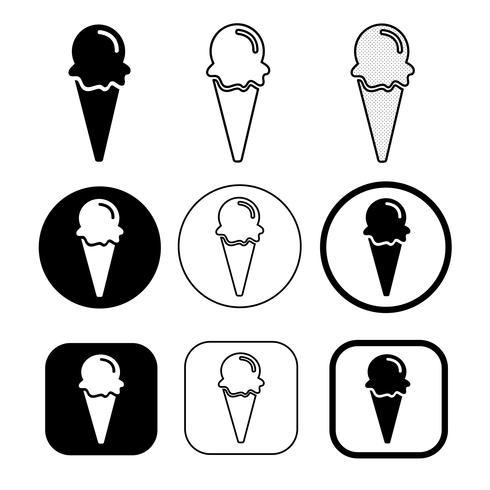 ensemble de simple icône de crème glacée vecteur