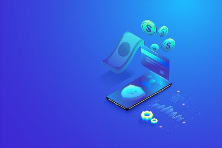 Paiement en ligne sécurisé 3D isométrique par concept de smartphone. Achats en ligne, transaction bancaire sécurisée avec mot de passe et vecteur de vérification d'empreintes digitales