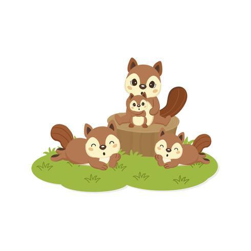 Caricature de famille d'écureuil heureux. vecteur