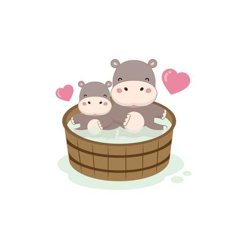 Heureux hippo et bébé dans la baignoire en bois. vecteur