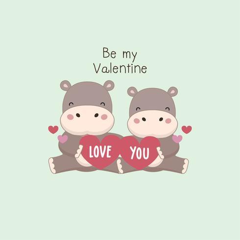 Carte de voeux Saint Valentin heureuse. Couple Hippo détient le coeur rose. vecteur