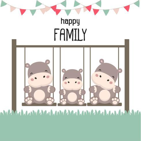 Famille heureuse avec Hippopotame sur balançoire. vecteur