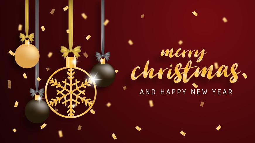 Joyeux Noël et bonne année carte de voeux en papier coupé style arrière-plan. Illustration vectorielle Décoration de fête de Noël sur fond rouge. bannière, flyer, affiche, papier peint, modèle vecteur