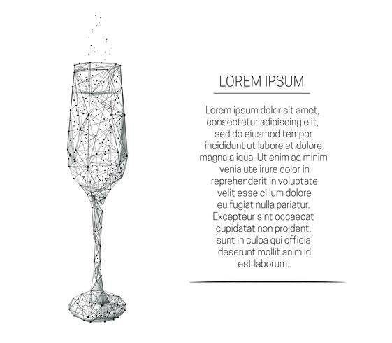 Verre à vin avec champagne vecteur