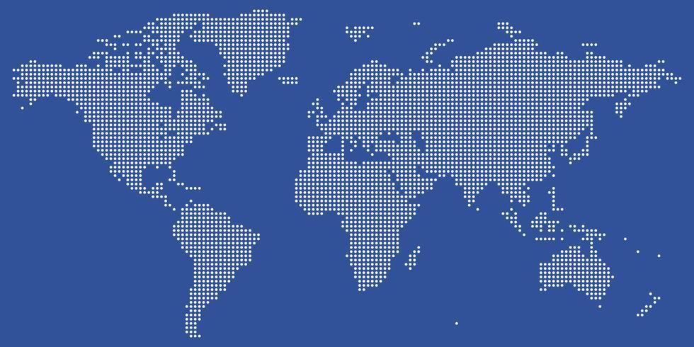 Vecteur de carte du monde en pointillé blanc et bleu