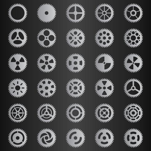 Ensemble gris clair de la collection Gear vecteur