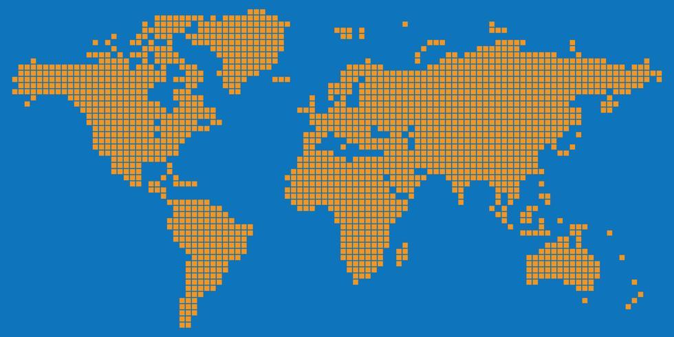 Vecteur de carte monde carré en pointillé de couleur orange