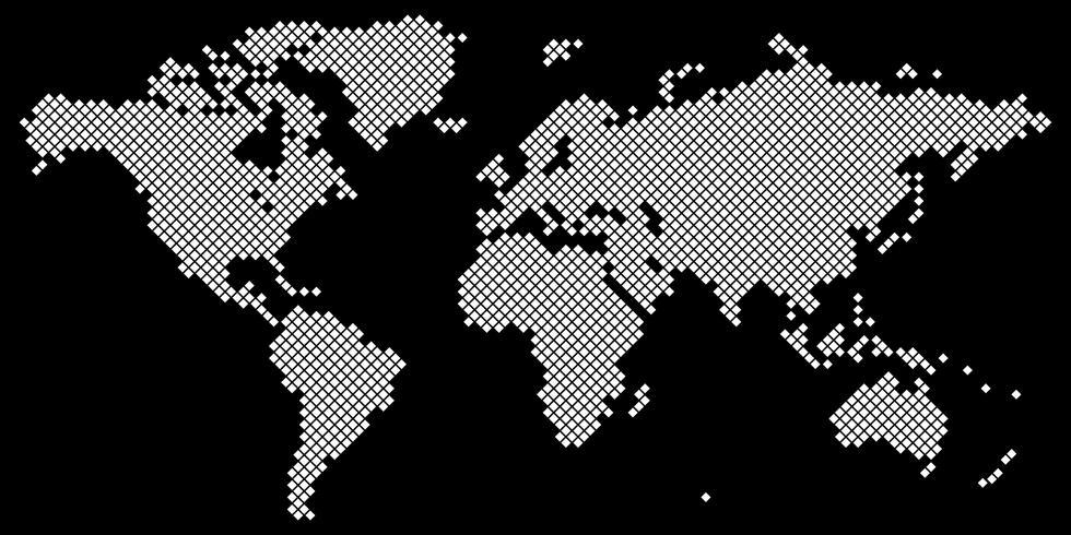 Grand vecteur de carte du monde Tetragon blanc sur fond noir