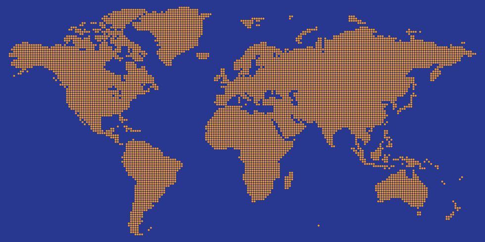 Vecteur de carte du monde avec orange couleur rond pointillé