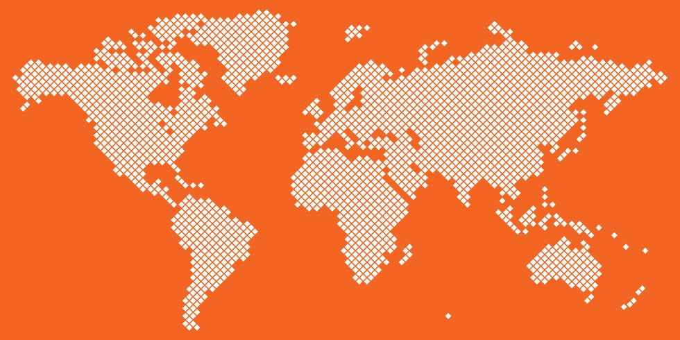 Grand vecteur de carte du monde Tetragon blanc sur orange
