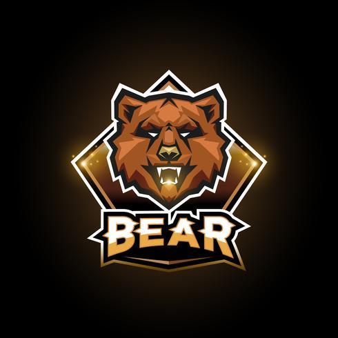 Logo emblème d'ours vecteur