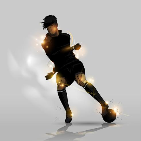 joueur de football dribble avec ballon vecteur