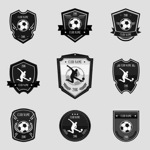 Emblèmes de football noir vecteur