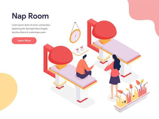 Concept d'illustration de la salle de sieste. Concept de conception isométrique de la conception de pages Web pour site Web et site Web mobile. Illustration vectorielle vecteur
