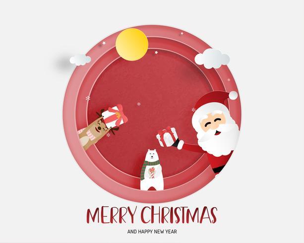 Joyeux Noël et bonne année carte de voeux en papier coupé style. Illustration vectorielle Fond de célébration de Noël. Bannière, flyer, affiche, papier peint, modèle. vecteur