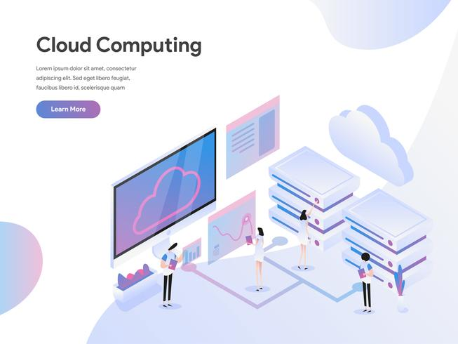 Modèle de page d'atterrissage de Cloud Computing Isometric Illustration Concept. Concept de design plat moderne de conception de page Web pour site Web et site Web mobile. Illustration vectorielle vecteur