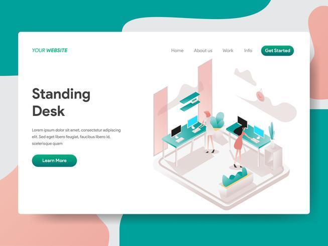 Modèle de page d'atterrissage de Standing Desk Illustration Concept. Concept de conception isométrique de la conception de pages Web pour site Web et site Web mobile. Illustration vectorielle vecteur