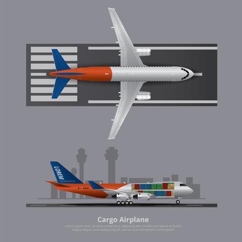 Cargo, avion, isolé, vecteur, illustration vecteur