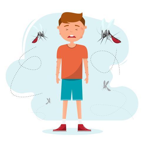 beaucoup de moustiques piquent un garçon vecteur