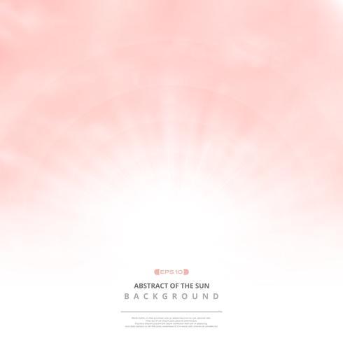 Ciel rose clair avec fond de nuages et soleil éclatent. vecteur