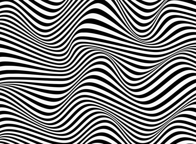 Abstrait de conception ondulée motif de lignes rayures noires et blanches. vecteur