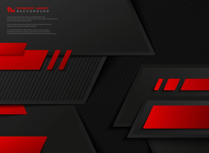 Vecteur abstraite technologie dégradé rouge modèle géométrique noir. illustration vectorielle eps10