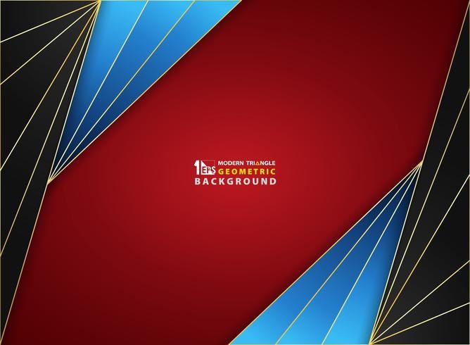 Cadre doré de luxe fond abstrait sur la couverture de couleur dégradé rouge noir bleu lisse lisse. vecteur