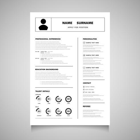 CV moderne sous forme de vecteur de couleur noire. Vous pouvez utiliser pour postuler à un emploi que vous aimez.