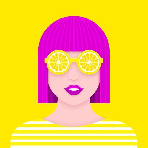 Pop Portrait De Femme Avec Des Lunettes De Soleil Au Citron Paper Art Design vecteur