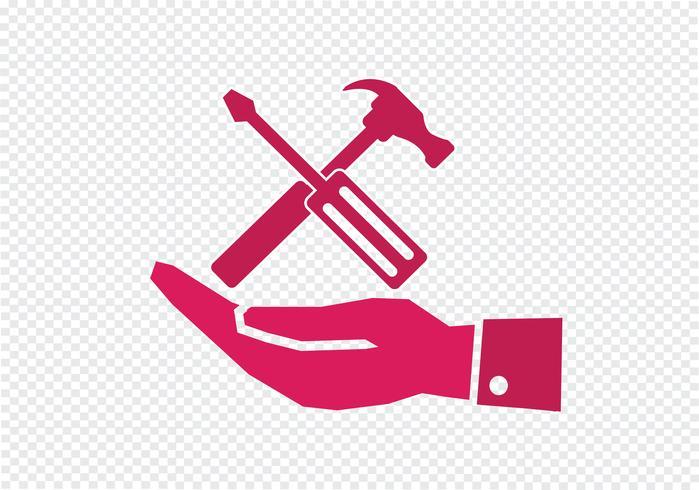 Marteau à main et outils icon vecteur