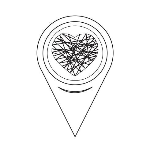 Icône de cœur de pointeur de carte vecteur