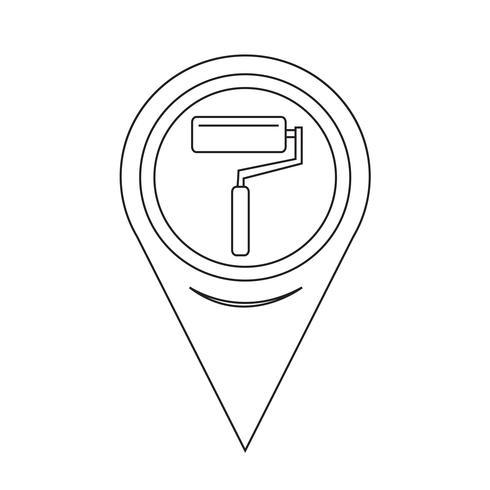 Icône de rouleau de peinture pointeur vecteur