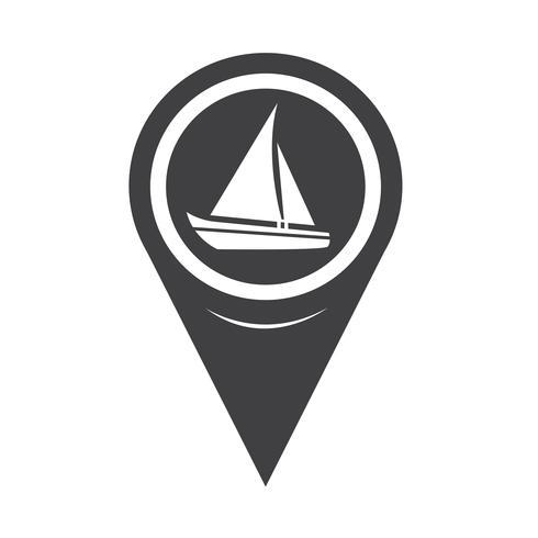 Carte Pointer Sailing Boat Icon vecteur